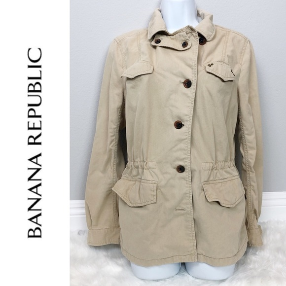 Banana Republic Jackets & Blazers - Banana Republic utility jacket tan/ khaki size 8